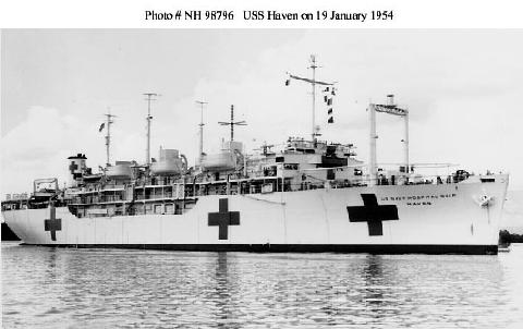 USS Haven, a USN hospital ship, in 1954